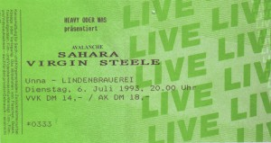 Ticket zum Konzert - Virgin Steel/Sahara/Avalanche
